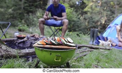 barbecue, cuisine, grill., ados, camping