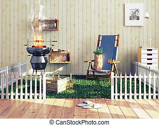 barbecue, dans, a, salle de séjour