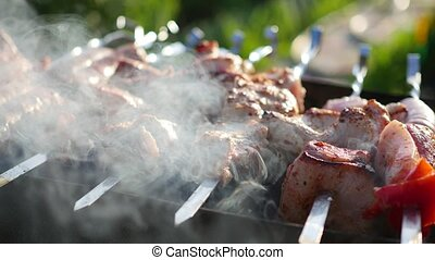 Barbecue Delicious Meat Cooked on the grill. A barbecue party. Pork pieces of meat roasted on an open fire