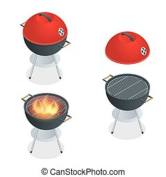 Barbecue design elements and barbecue grill summer food. Flat 3d vector isometric illustration.