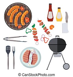 Barbecue design elements and barbecue grill summer food. Grilled picnic barbecue lunch, barbecue weekend cookout meat steak food. Vector set of barbecue and bbq grill elements outdoors cooking dinner.