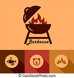 barbecue design elements - Illustration of Grill in Flat...