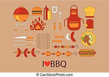 Barbecue design elements. Grill, kitchen utensils, hamburger, hot dog, chef hat, apron, glove, bottle of ketchup and mustard, fish and sausages on skewers. Flat vector objects