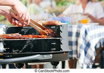 barbecue, detenere, famiglia