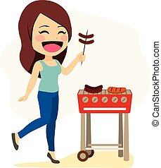 barbecue, donna