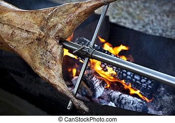 Barbecue during a garden party