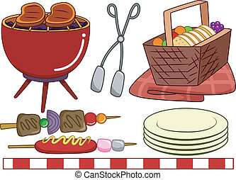 Barbecue Elements - Illustration of Ready to Print...