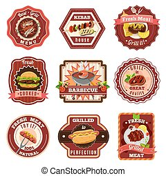 Barbecue Emblems Set