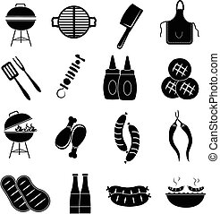 barbecue, ensemble, icônes