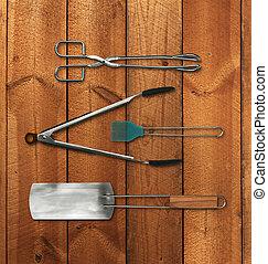 barbecue, ensemble, outils