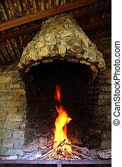 Barbecue fire chimney masonry stone wall