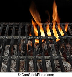 Barbecue Fire Grill Isolated On The Black Background, Close-up