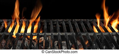 Barbecue Fire Grill Isolated On The Black Background, Close Up