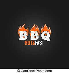 barbecue fire sign design background 8 eps