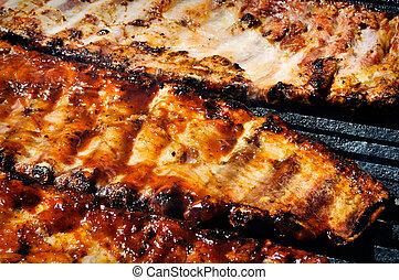 barbecue, fläsk, kotlettrader, på, den, grill