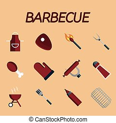 Barbecue flat icon set