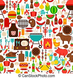 Barbecue Flat Seamless Pattern