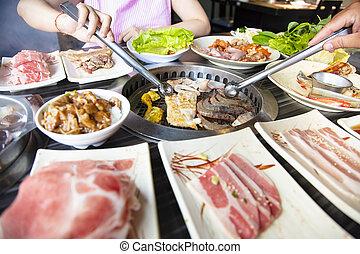 barbecue, folk, äta, nötkött, restaurang
