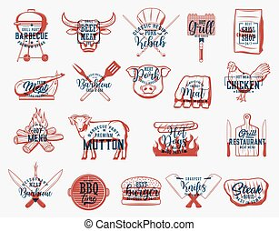 Barbecue food, charcoal grill and bbq tool icons - Barbecue ...