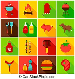 Barbecue Food Colorful Icons