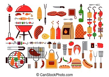 Barbecue food doodle print set