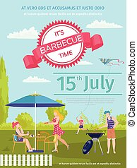 Barbecue food outdoor, bbq poster vector illustration. Cartoon party invitation design, cooking meat at picnic summer background.