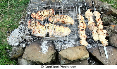 Barbecue - Shish kebab and a barbecue on a makeshift grill