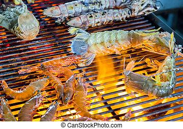 barbecue, gamberetto, griglia, cottura, seafood.
