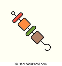 barbecue, gastronomy and Food set, filled outline icon