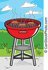 A cartoon barbecue grill with hamburgers on it.