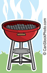 Barbecue Grill - A cartoon grill with charcoal bricks in it.