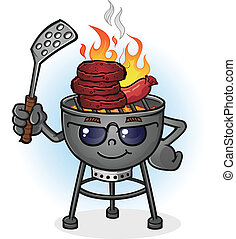 A hot barbecue grill cartoon character with sunglasses and a spatula, grilling burgers and and hotdogs over an open flame