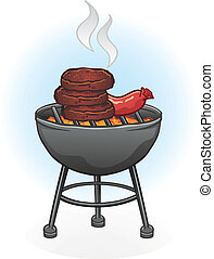 A cartoon drawing of a charcoal grill with burgers and hot dogs on a hot summer day