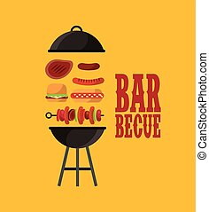 barbecue grill design - barbecue and grilled food icon over...