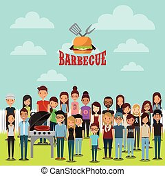 barbecue party with young people smiling over landscape background. colorful design. vector illustration