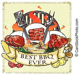 barbecue, grill, etikett, design, -, bäst, barbecue,...