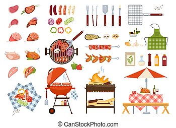 Barbecue grill food and tools vector illustrations, cartoon flat set with grilled beef, chicken or fish steak, bbq vegetables, tomato sauce