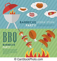 Barbecue grill horizontal banners