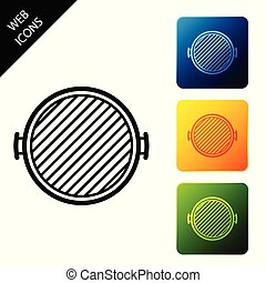 Barbecue grill icon isolated on white background. Top view of BBQ grill. Set icons colorful square buttons. Vector Illustration