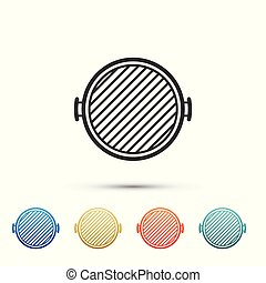 Barbecue grill icon isolated on white background. Top view of BBQ grill. Set icons in color icons. Vector Illustration