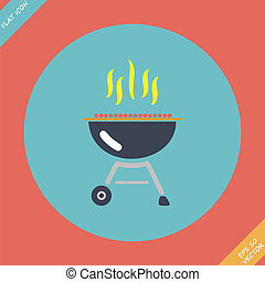 Barbecue grill icon - vector illustration. Flat design element