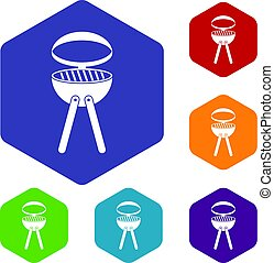 Barbecue grill icons set hexagon
