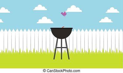 barbecue grill in backyard wooden fence - barbecue grill...