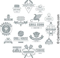 Barbecue grill logo icons set, simple style