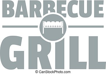 Barbecue grill logo, simple gray style