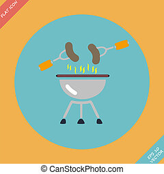 Barbecue  grill menu icon - vector illustration.