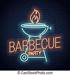 Barbecue grill neon logo. BBQ with flame neon