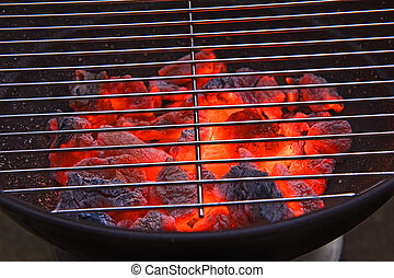 barbecue grill - Red hot burning charcoal preparing for ...