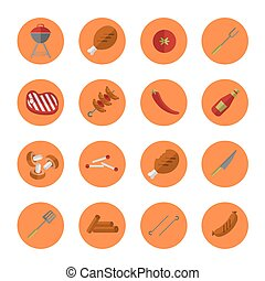 Barbecue grill round icons set