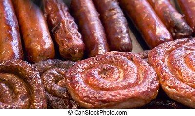 barbecue, grill., saucisses, grillade